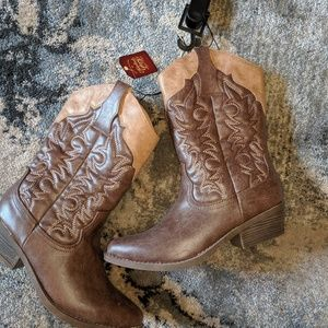 faded glory tall western cowboy boots 6 women new